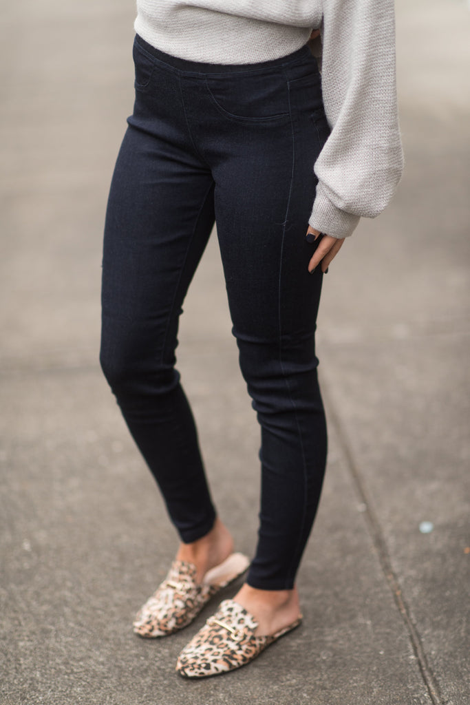 Mud Pie: Elyse Denim Leggings, Blue Denim