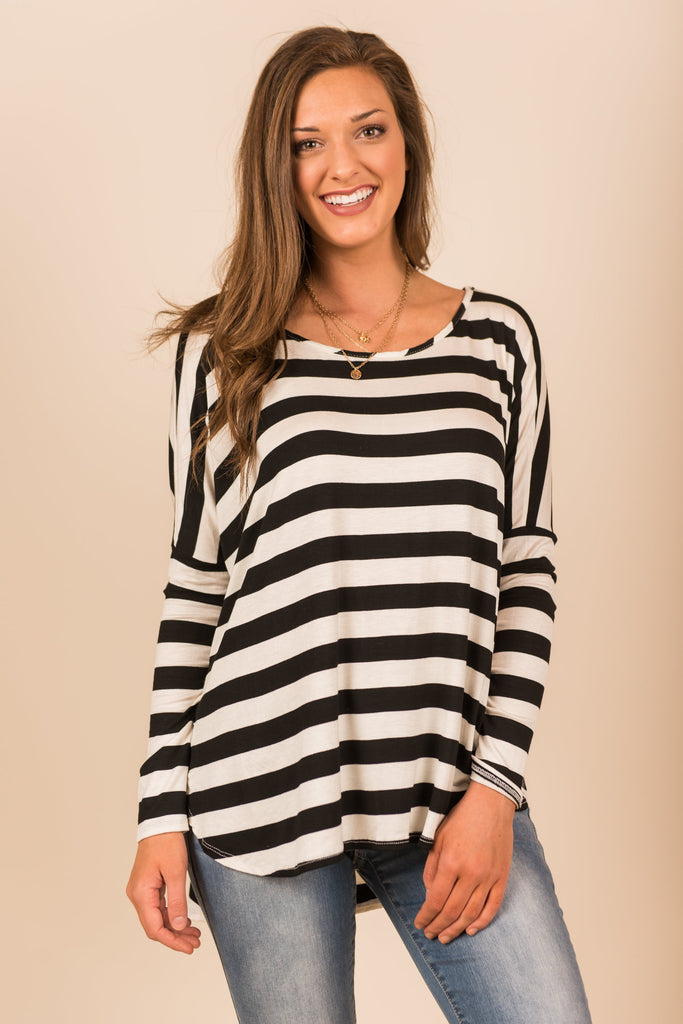 Keep It Simple Top, Black-Off White