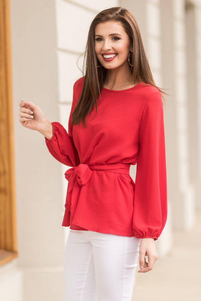Flattery Will Get You Everywhere Top, Red
