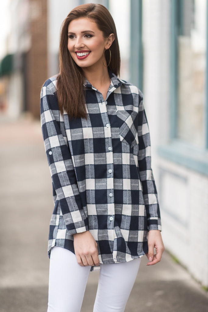 Just Plaid Fun Top, Navy