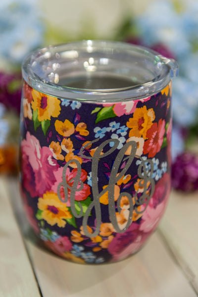 Sip Happens Wine Tumbler, Purple-Fuchsia Floral