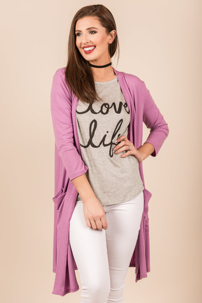 Treat You Right Cardigan, Lilac