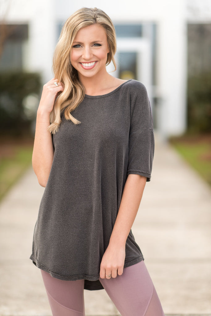 Falling Into Place Top, Black