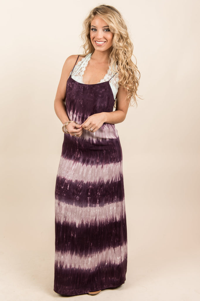The Tie Dye Is Rolling In Maxi Dress, Plum-Mauve