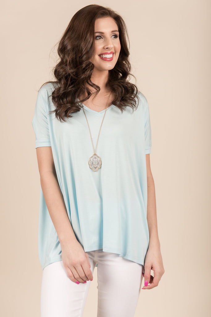 Just A Feeling Piko Top, Sky Blue