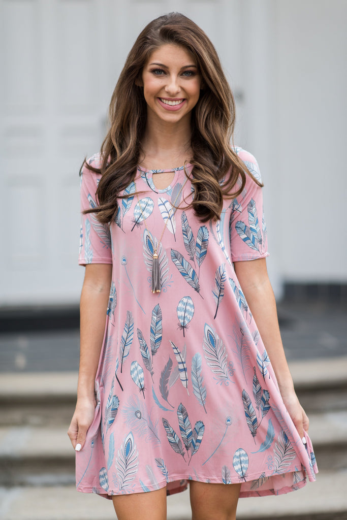 Fun In Feathers Dress, Pink