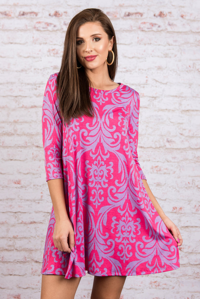 Always On The Go Dress, Hot Pink-Purple
