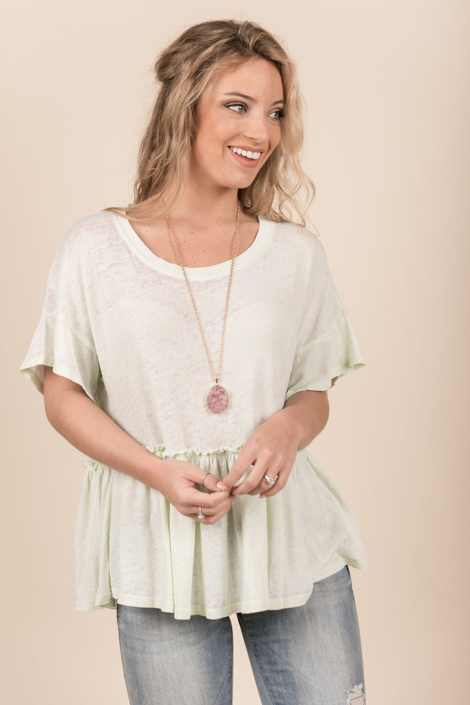 Run To Ruffles Top, Seafoam