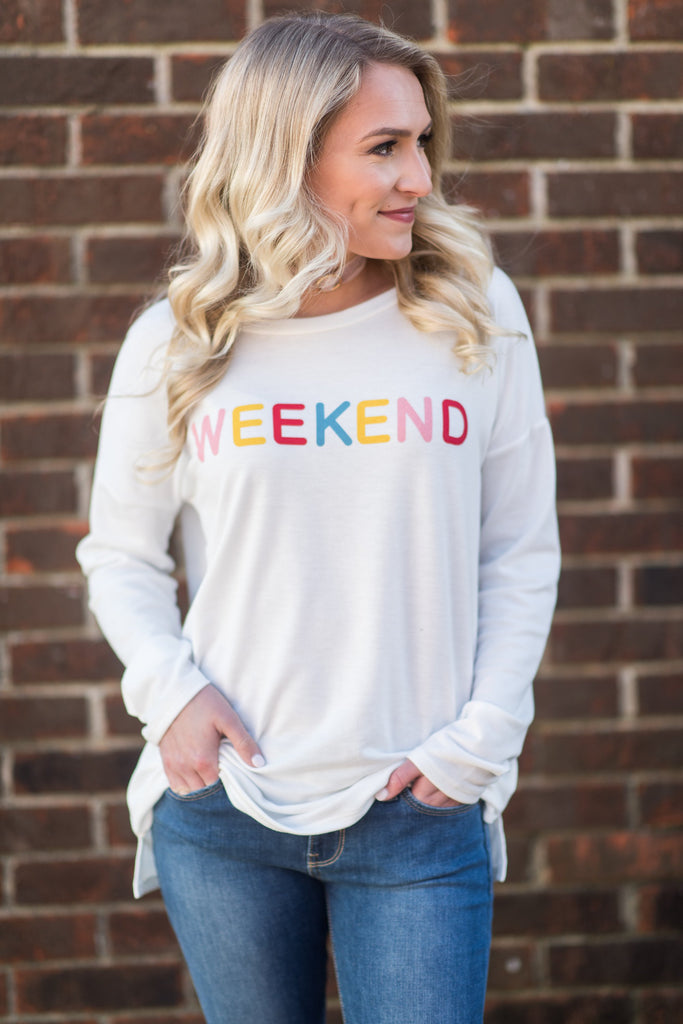 This Is My Weekend Sweatshirt, White