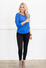 top, casual, fall, winter, long sleeve, tee, flowy, solid, royal blue, blue, bright, jersey knit, soft, stretchy, trendy, shopping, everyday, scoop neckline, light, spandex, modal, bright