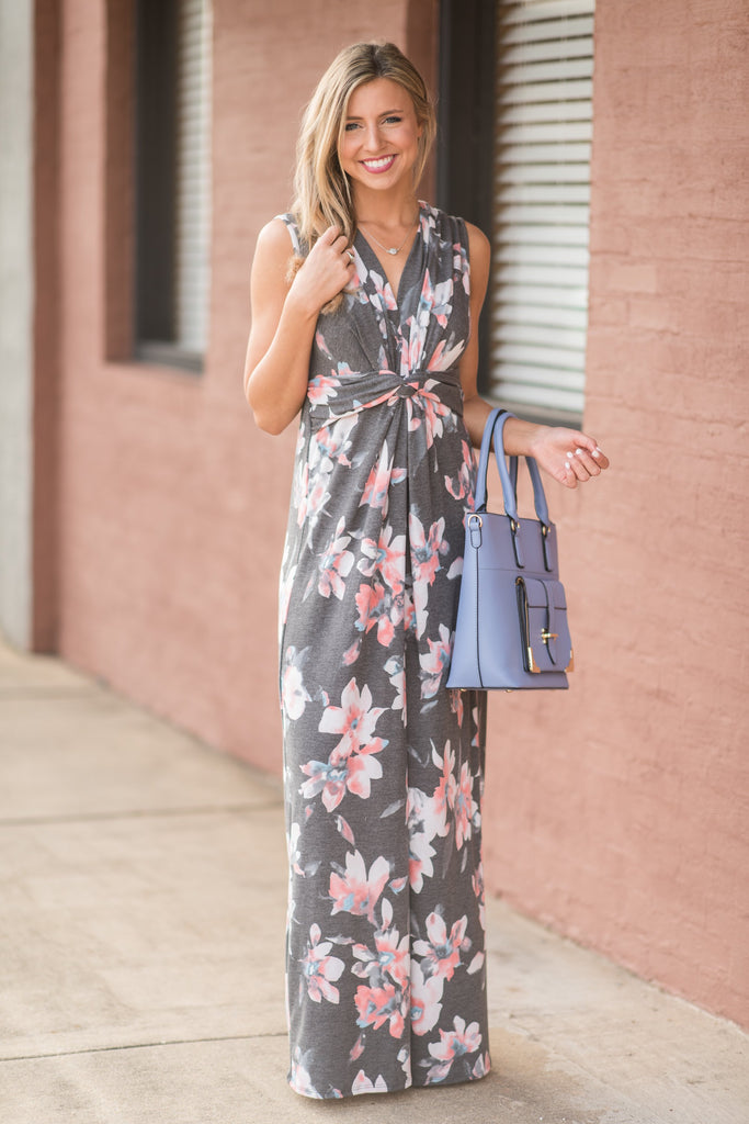 What A Lovely Life Charcoal Gray Floral Maxi Dress