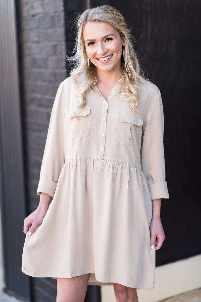 Finely Tuned Dress, Taupe