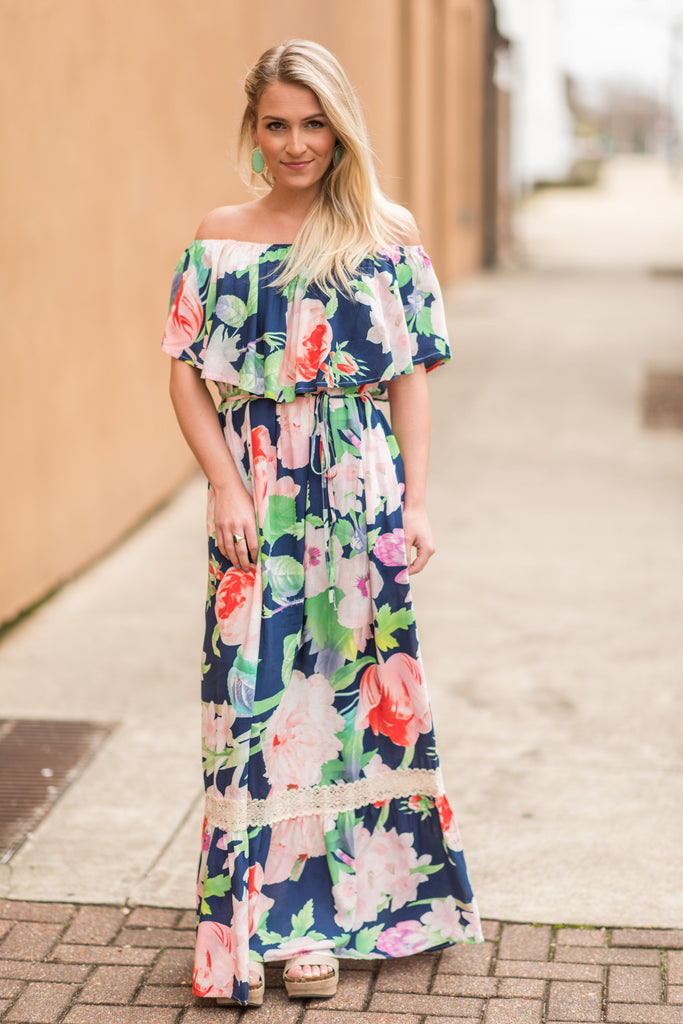 Party In Paradise Maxi Dress, Navy