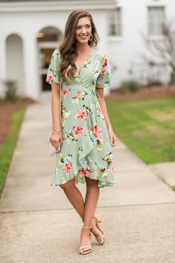 Bliss With A Kiss Midi Dress, Sage
