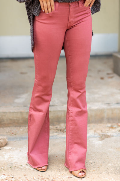 Living On Love Flare Jeans, Mauve