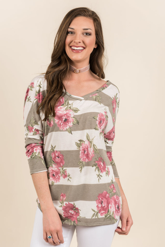 Twisted Love Floral Top, Mocha-Ivory