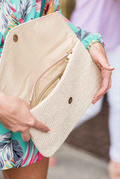 Beach Party Clutch, Natural