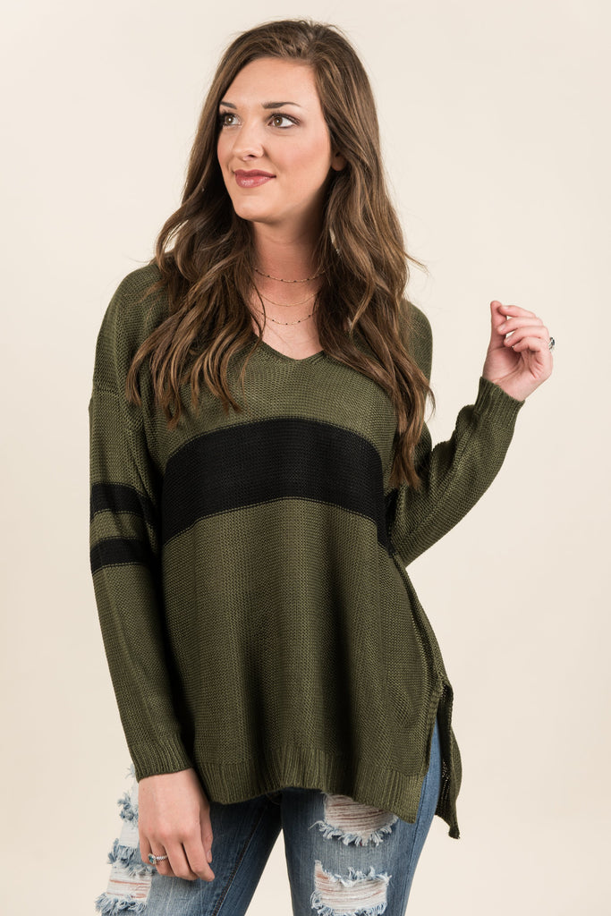 Funday Fab Sweater, Olive-Black