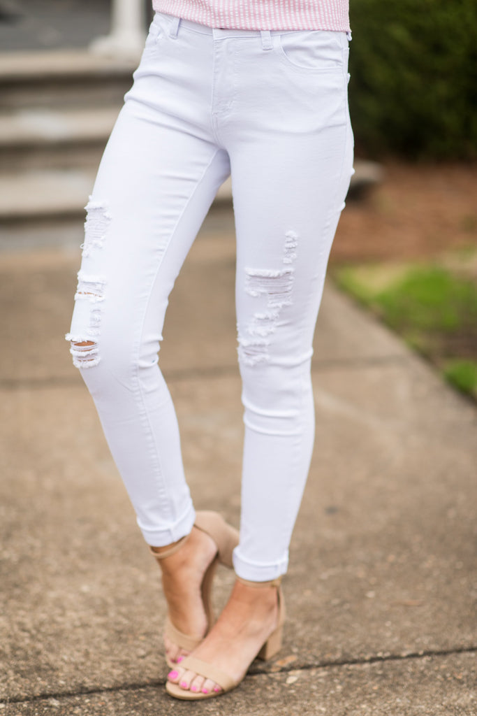 Got It Covered Skinny Jeans, White