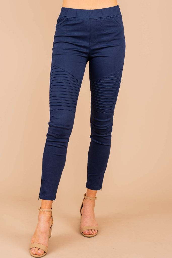 moto jeggings, jeggings, blue, elastic waistband, back pockets, denim