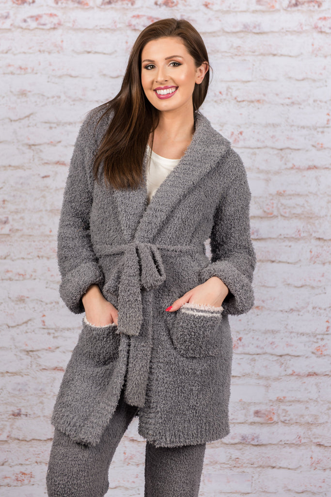 Too Cozy To Care Robe, Charcoal