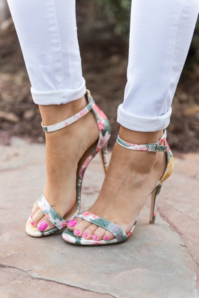 Floral Fancies Heels, Pink-Yellow