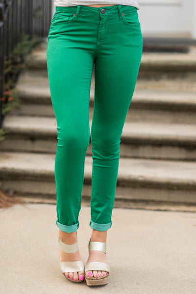 Bright Start Skinny Jeans, Green