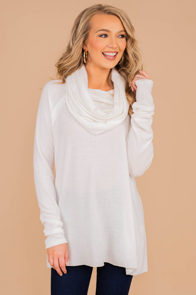 cozy, classic, draped cowl neck, sweater, solid sweater, long sleeves, cowl neck knit fabric, ivory, white, fall, winter,