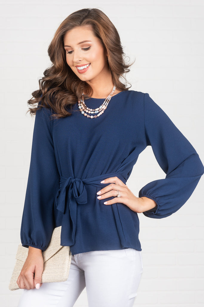 Flattery Will Get You Everywhere Top, Navy