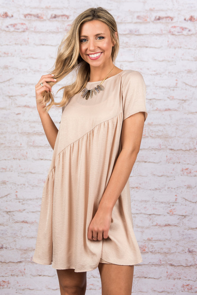 Moving On Up Dress, Nude
