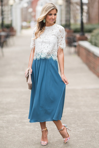 Beautiful Moment Midi Skirt, Blue