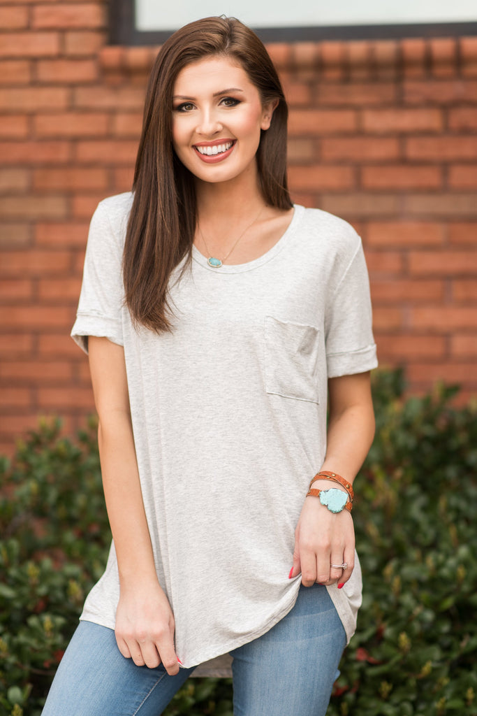 Hooked On You Tee, Light Gray