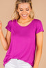 magenta purple, top, tee, round neckline, soft, short sleeves, classic fit