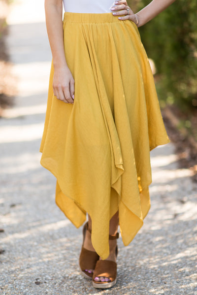 Good To Flow Handkerchief Skirt, Mustard