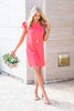 Beauty Bound Coral Pink Ruffled Sleeve Dress