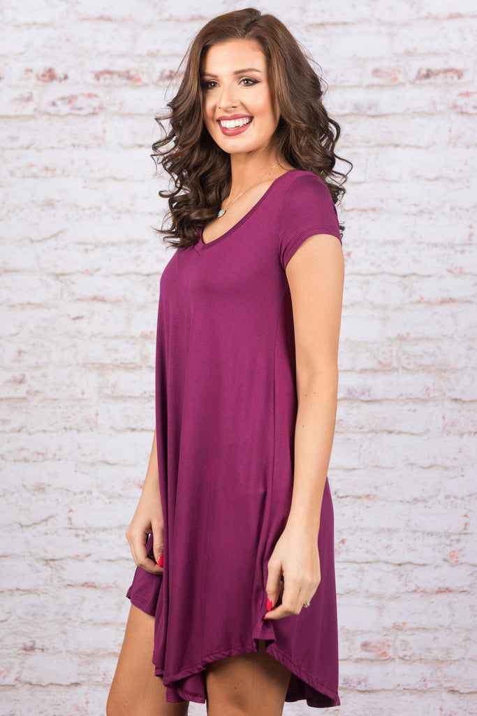 Main Street Traveling Dress, Magenta