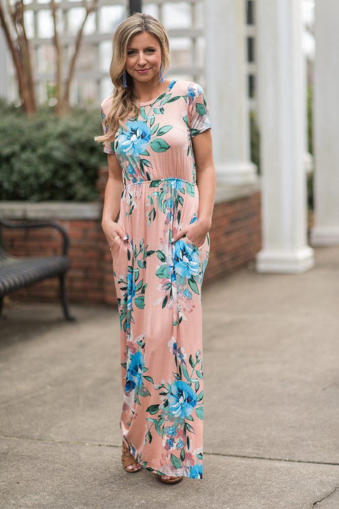 Bold Business Maxi Dress, Blush