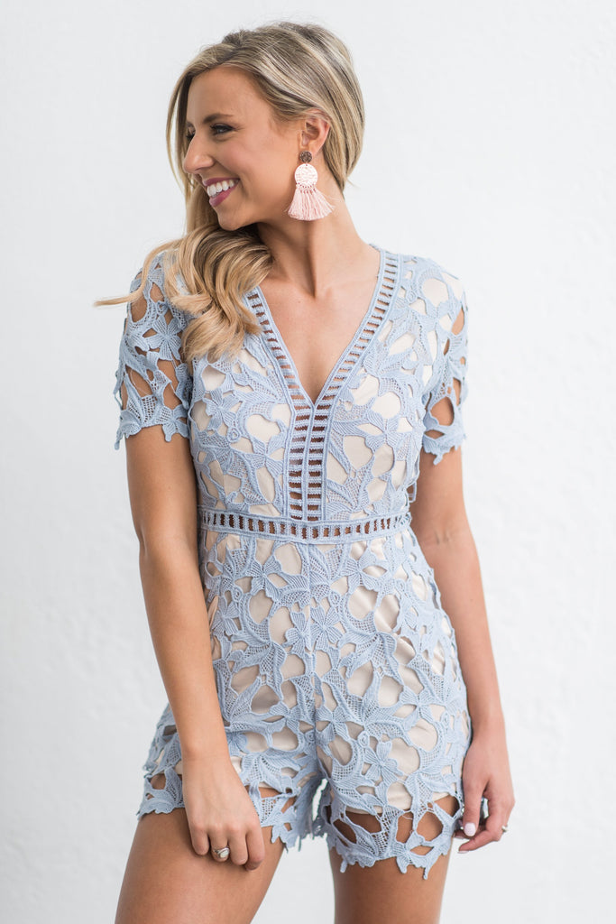 Belle Of The Ball Romper, Light Blue
