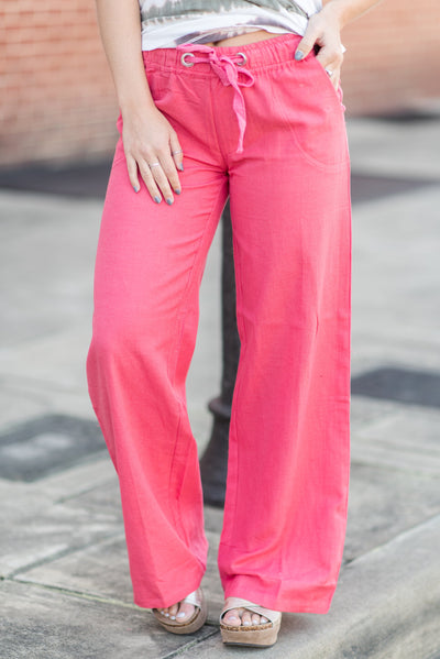 Looking For Chill Linen Pants, Coral