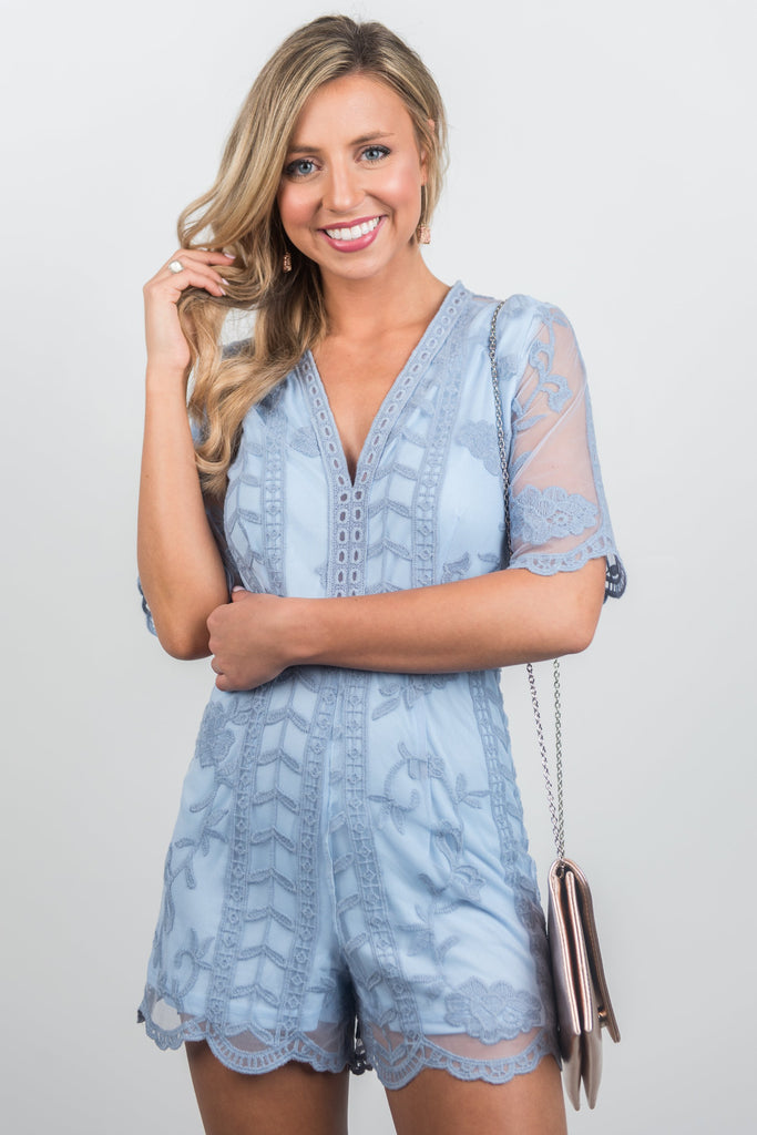 Flawless Drama Romper, Dusty Blue