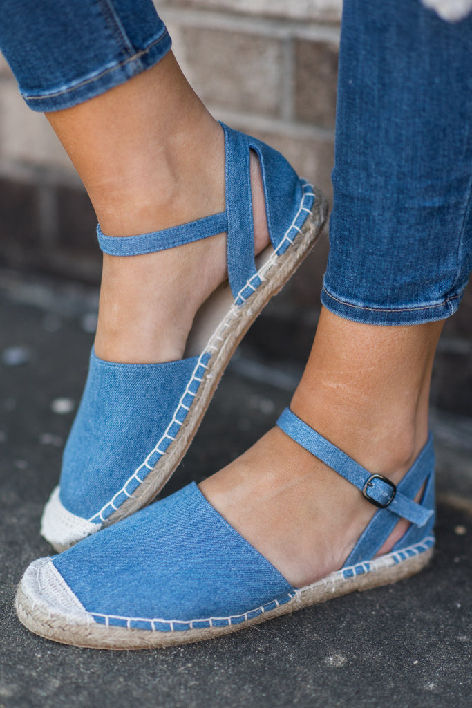 Associated Class Espadrille Flats, Denim Blue