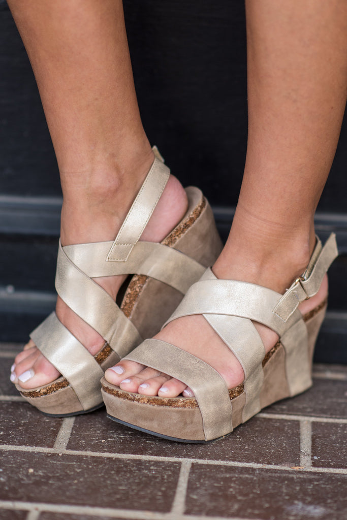 On the Up and Up Gold Strappy Wedges