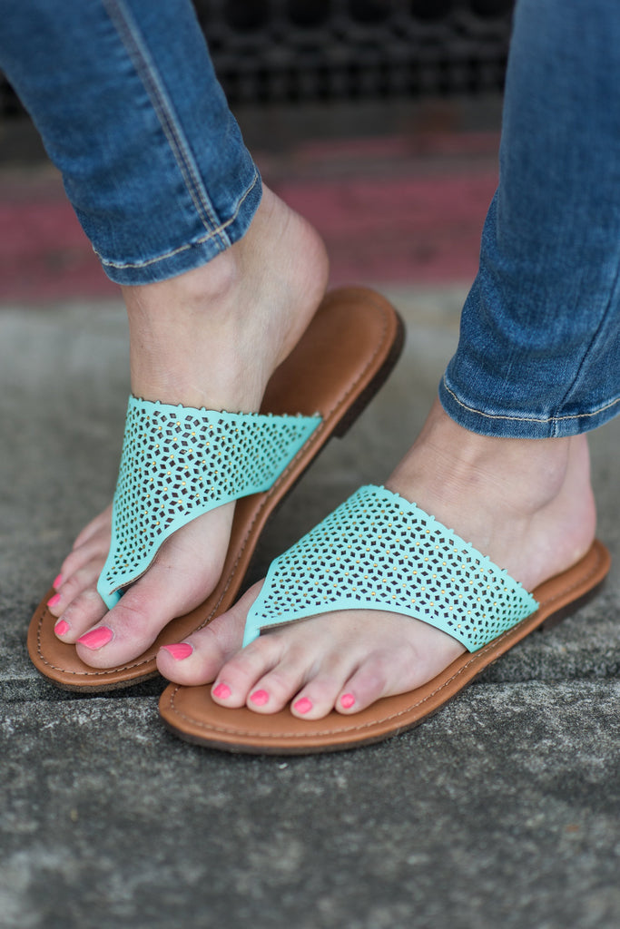 Headed Towards Fun Sandals, Turquoise