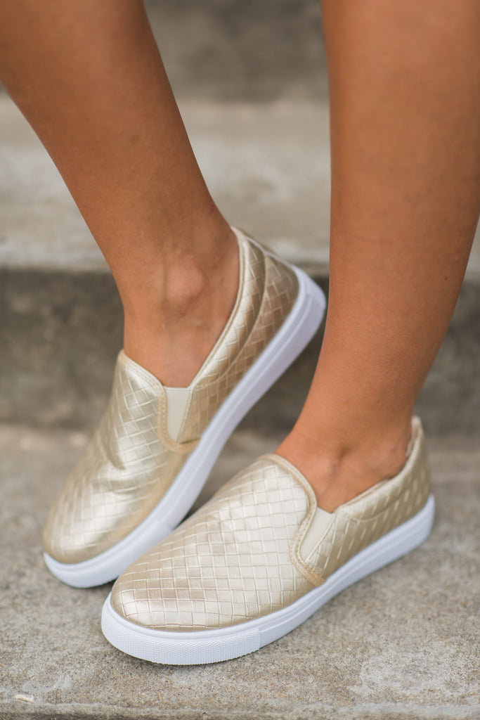 Best Foot Forward Sneakers, Gold