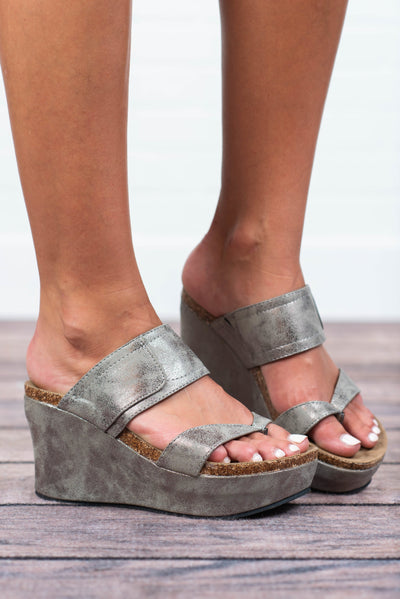 All Caught Up Wedges, Pewter