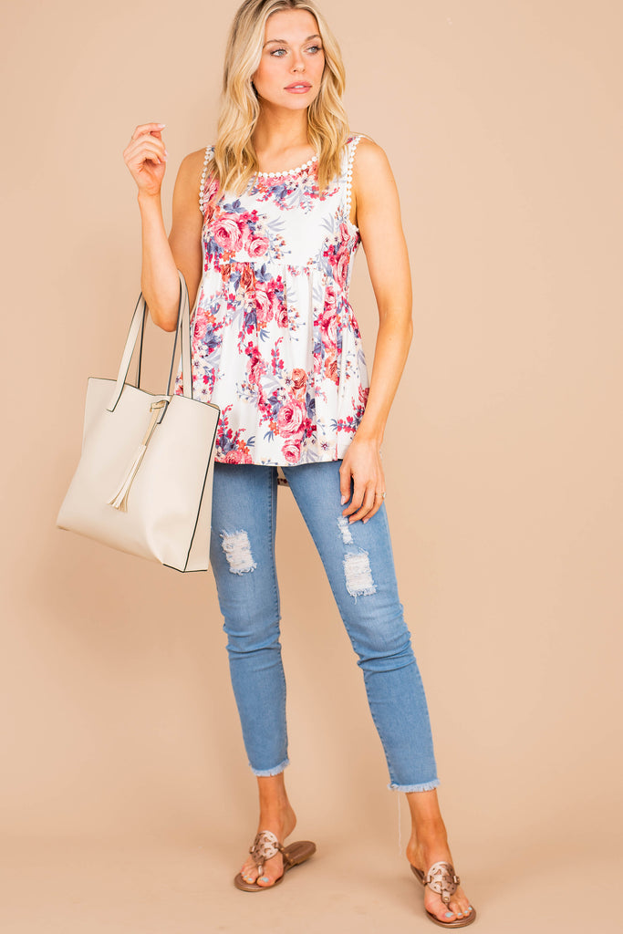 top, tank, sleeveless top, print top, print, flowers, flowy