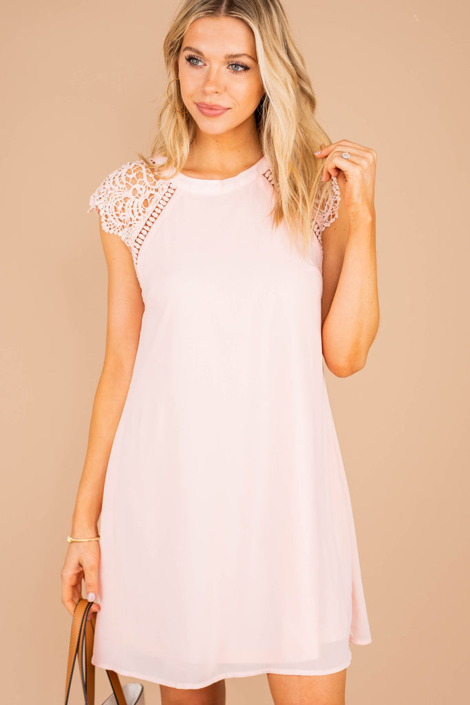 pink dress, dress, cap sleeves, lace, round neckline, shift dress
