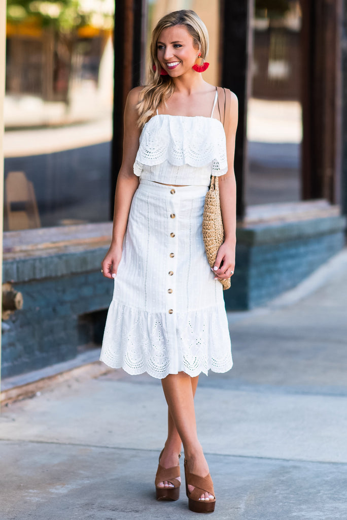 When The Weather Is Fine Midi Skirt, Off White