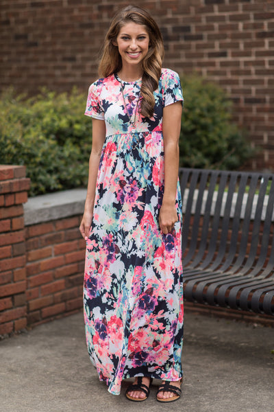 Floral Influences S/S Maxi Dress, Navy-Pink