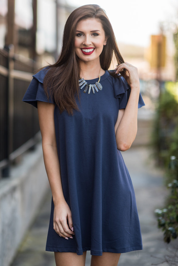 Emotions Rise Dress, Navy